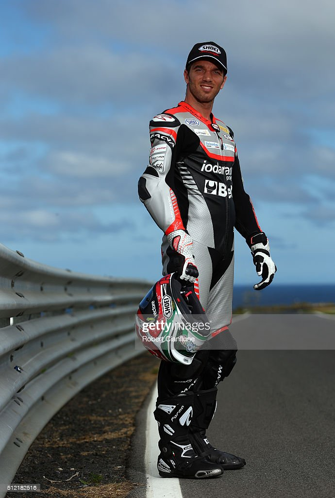 Alex De Angelis of San Marino and rider of the #15 IodaRacing Aprilia poses during previews for round one of the 2016 World Superbike Championship at Phillip Island Grand Prix Circuit on February 25, 2016 in Phillip Island, Australia.