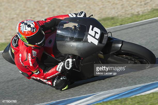 Alex De Angelis of San Marino and Tasca Racing Moto2 rounds the bend during the Moto2 and Moto3 Tests in Jerez Day One at Circuito de Jerez on March...