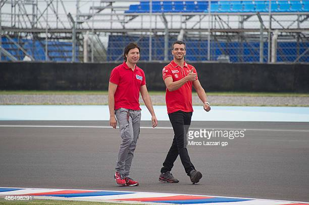 Alex De Angelis of San Marino and Tasca Racing Moto2 walks on track and check the new circuit during the MotoGp of Argentina Previews at on April 24...