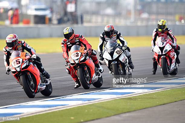 Alex De Angelis of San Marino Jordi Torres of Spain Lorenzo Savadori of Italy and Karel Abraham of Czech during the Buriram World Superbike...