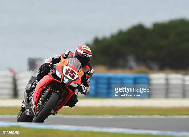 Alex De Angelis of San Marino rides the IodaRacing Aprilia during practice for round one of the 2016 World Superbike Championship at Phillip Island...