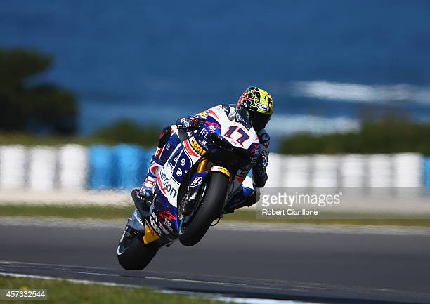 Alex De Angelis of San Marino rides the NGM Forward Racing Yamaha during free practice for the 2014 MotoGP of Australia at Phillip Island Grand Prix...