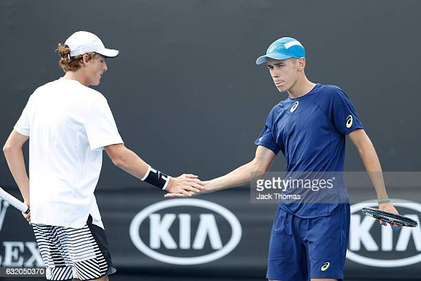Alex De Minaur and Max Purcell of Australia compete in their first round against Pablo Carreno Bustab of Spain and Guillermo GarciaLopez of Spain on...