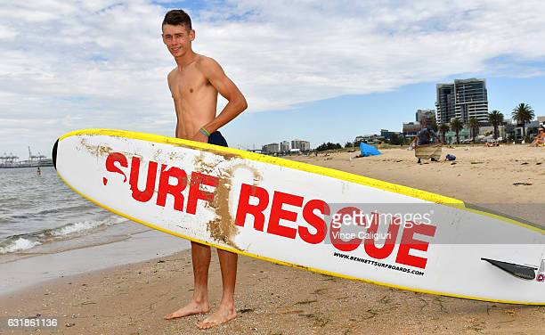 Alex De Minaur of Australia poses after getting lessons from Sth Melbourne Life Saving club during day two of the 2017 Australian Open at Melbourne...