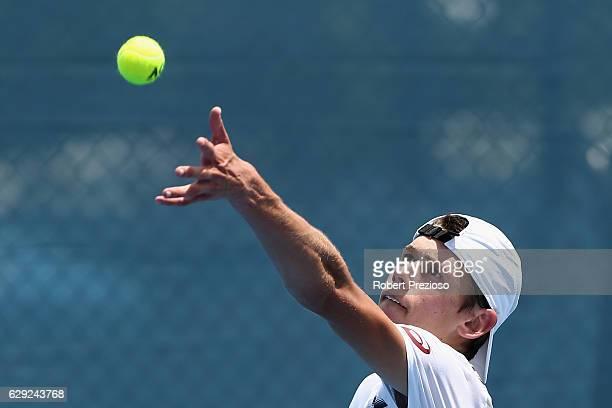 Alex De Minaur of Australia serves during the Australian Open December Showdown at Melbourne Park on December 12 2016 in Melbourne Australia