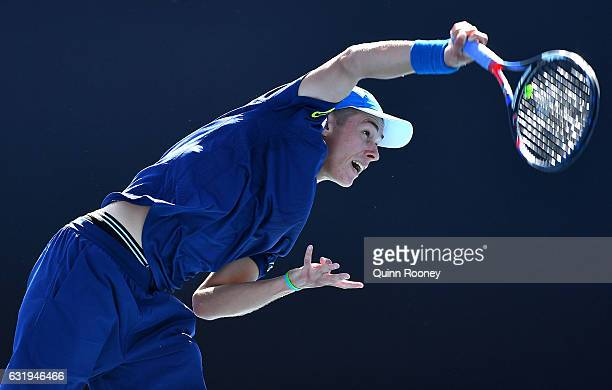 Alex De Minaur of Australia serves in his second round match against Sam Querrey of the United States on day three of the 2017 Australian Open at...