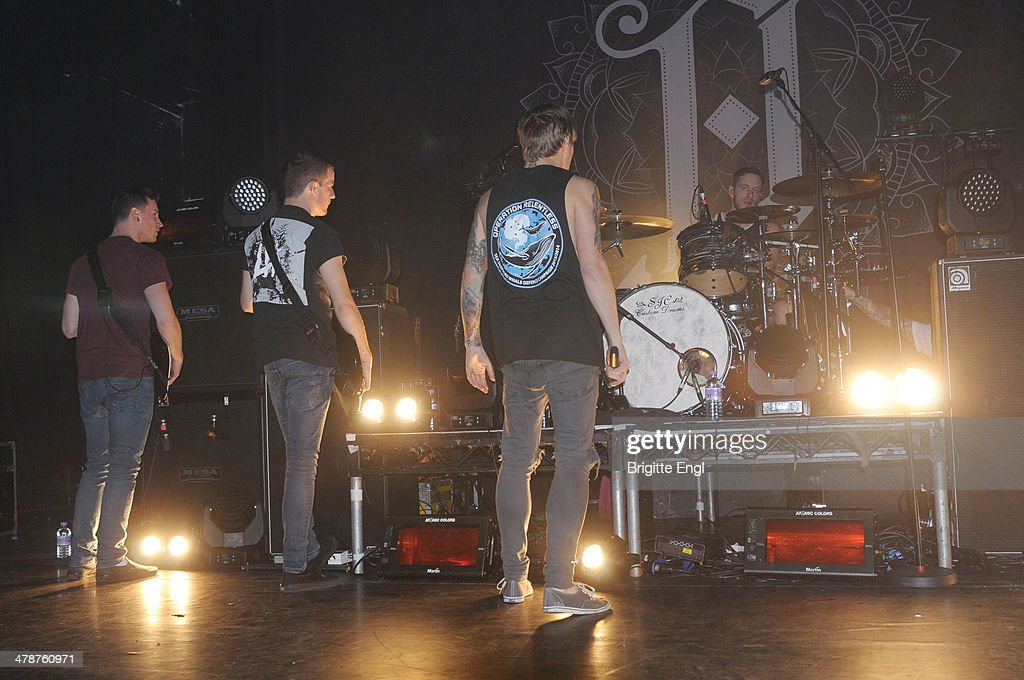 alex Dean, Sam Carter and Dan Searle of Architects performs on stage at KOKO on March 14, 2014 in London, United Kingdom.