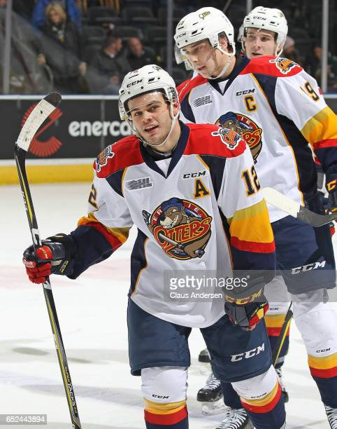 Alex DeBrincat of the Erie Otters is all smiles after scoring a goal in a 19th straight game tying the league record set in 1988 by Mike Ricci during...