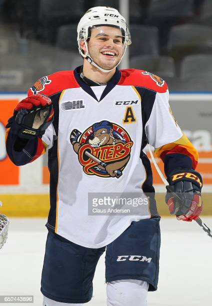 Alex DeBrincat of the Erie Otters is all smiles after scoring a goal for the 19th straight game to tie the 1988 league record set by Mike Ricci...
