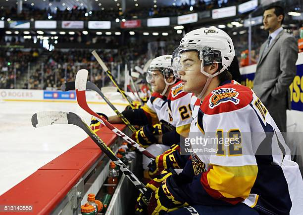 Alex DeBrincat of the Erie Otters looks on from the bench during an OHL game against the Niagara IceDogs at the Meridian Centre on February 28 2016...