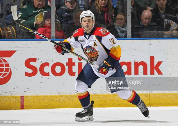 Alex DeBrincat of the Erie Otters skates against the London Knights during an OHL game at Budweiser Gardens on March 10 2017 in London Ontario Canada...