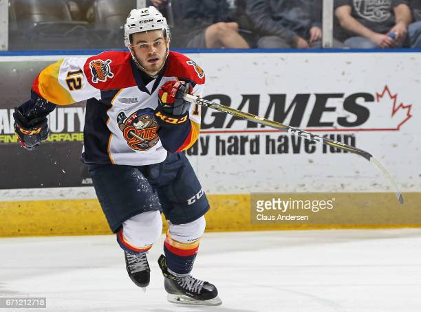 Alex DeBrincat of the Erie Otters skates against the London Knights in Game Six of the OHL Western Conference SemiFinal on April 16 2017 at Budweiser...