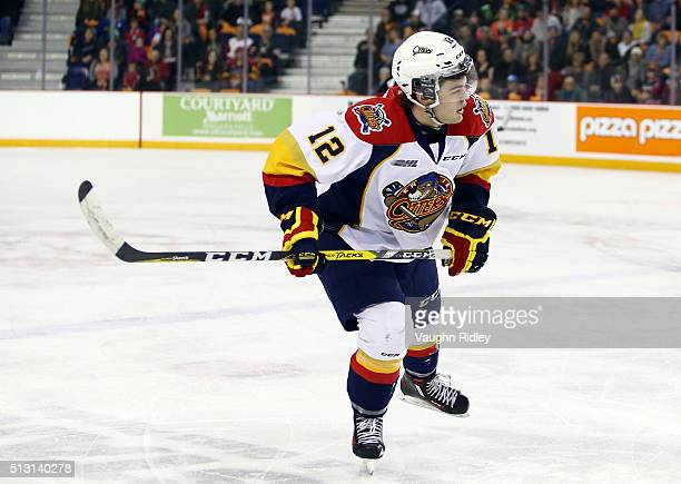 Alex DeBrincat of the Erie Otters skates during an OHL game against the Niagara IceDogs at the Meridian Centre on February 28 2016 in St Catharines...