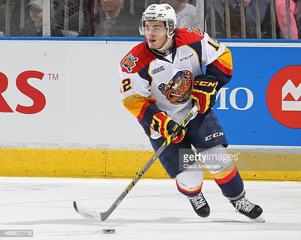 Alex DeBrincat of the Erie Otters skates with the puck against the London Knights during Game Four of the OHL Western Conference Semifinal at...