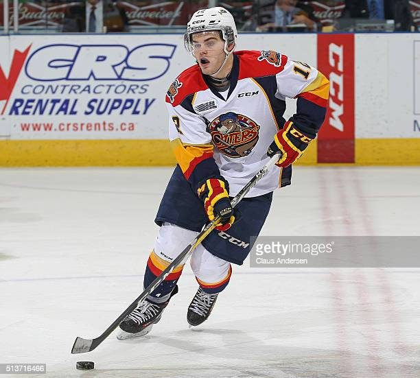 Alex DeBrincat of the Erie Otters skates with the puck against the London Knights during an OHL game at Budweiser Gardens on March 3 2016 in London...