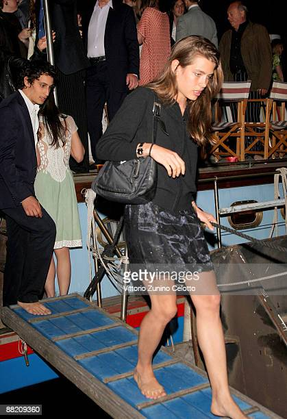 Alex Dellal and Charlotte Casiraghi depart the Bruce Nauman dinner party hosted by Missoni on the boat 'Timoteo' during the 2009 Venice Biennale on...