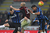 Alex Dias da Costa of AC Milan competes for the ball with Davide Santon and Jeison Murillo of FC Internazionale Milano during the Serie A match...