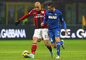 Alex Dias da Costa of AC Milan is challenged by Leonardo Pavoletti of US Sassuolo Calcio during the TIM Cup match between AC Milan and US Sassuolo...
