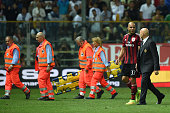 Alex Dias Da Costa of AC Milan walks off with an injury during the Serie A match between Parma FC and AC Milan at Stadio Ennio Tardini on September...