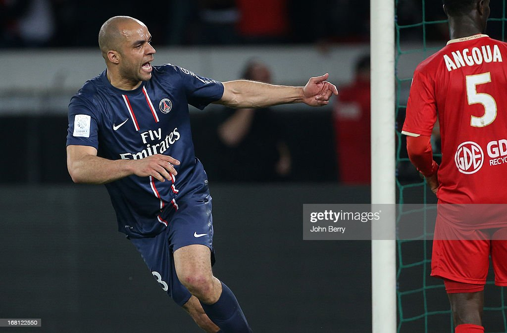 Alex Dias Da Costa of PSG celebrates his goal during the Ligue 1 match between Paris Saint-Germain FC and Valenciennes FC at the Parc des Princes stadium on May 5, 2013 in Paris, France.