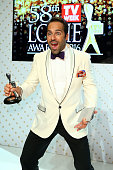 Alex Dimitriades poses with the Logie Award for Most Outstanding Actor 'The Principal' during the 58th Annual Logie Awards at Crown Palladium on May...