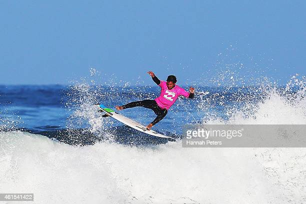 Alex Dive competes in the Open Men's Quarter Finals during the New Zealand Surf Nationals at Piha Beach on January 15 2015 in Auckland New Zealand