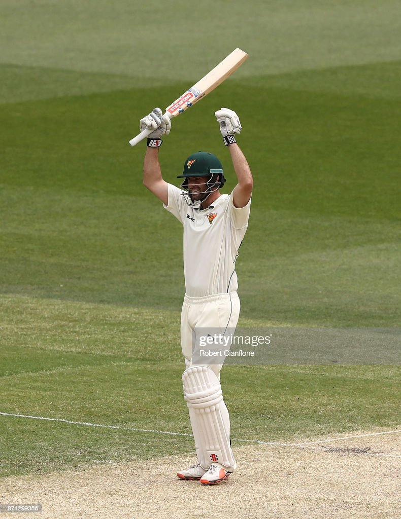 Alex Doolan of Tasmania celebrates after scoring his double century during day three of the Sheffield Shield match between Victoria and Tasmania at Melbourne Cricket Ground on November 15, 2017 in Melbourne, Australia.