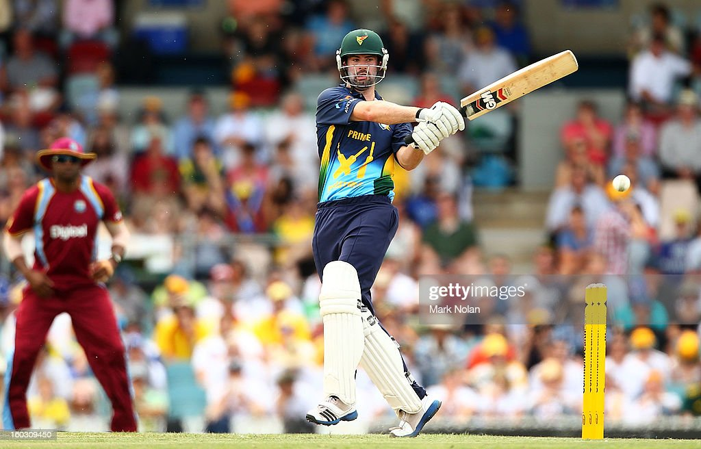 Alex Doolan of the PM's XI bats during the International Tour Match between the Prime Minister's XI and West Indies at Manuka Oval on January 29, 2013 in Canberra, Australia.