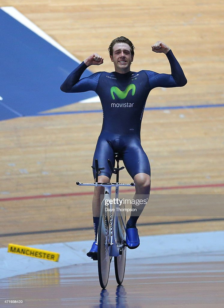 Alex Dowsett celebrates setting a new UCI Hour Record during the UCI Hour Record Attempt at the National Cycling Centre on May 2, 2015 in Manchester, England.