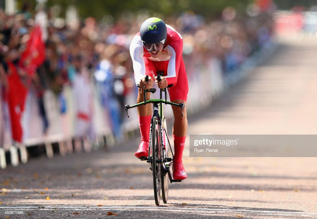 <a gi-track='captionPersonalityLinkClicked' href=/galleries/search?phrase=Alex+Dowsett&family=editorial&specificpeople=5537739 ng-click='$event.stopPropagation()'>Alex Dowsett</a> of England crosses the finish line during the Men's Cycling Road Time Trial at during day eight of the Glasgow 2014 Commonwealth Games on July 31, 2014 in Glasgow, United Kingdom.
