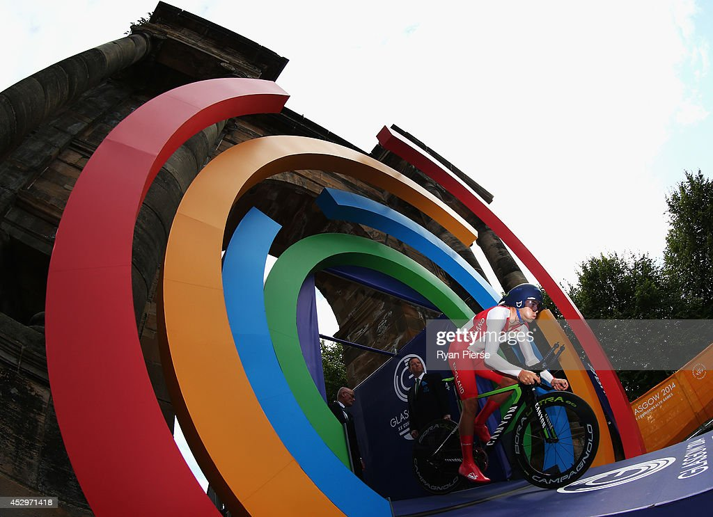 <a gi-track='captionPersonalityLinkClicked' href=/galleries/search?phrase=Alex+Dowsett&family=editorial&specificpeople=5537739 ng-click='$event.stopPropagation()'>Alex Dowsett</a> of England leaves the starting gate during the Men's Cycling Road Time Trial at during day eight of the Glasgow 2014 Commonwealth Games on July 31, 2014 in Glasgow, United Kingdom.