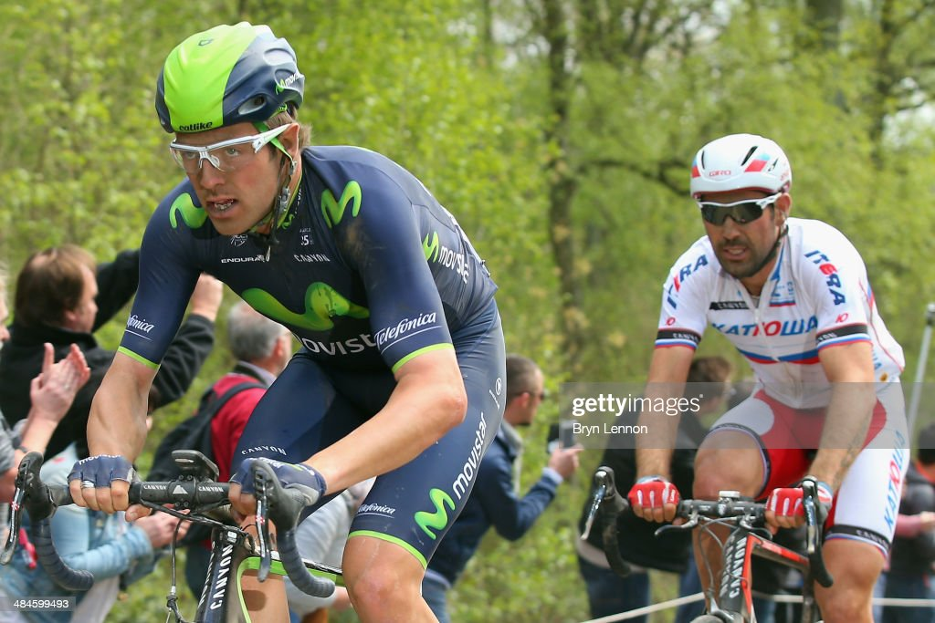<a gi-track='captionPersonalityLinkClicked' href=/galleries/search?phrase=Alex+Dowsett&family=editorial&specificpeople=5537739 ng-click='$event.stopPropagation()'>Alex Dowsett</a> of Great Britain and Movistar rides through the Arenberg Forest during the 112th edition of the Paris - Roubaix cycle race from Compiegne to Roubaix on April 13, 2014 in Roubaix, France. This year's 257km race includes 28 secteurs of cobbles.