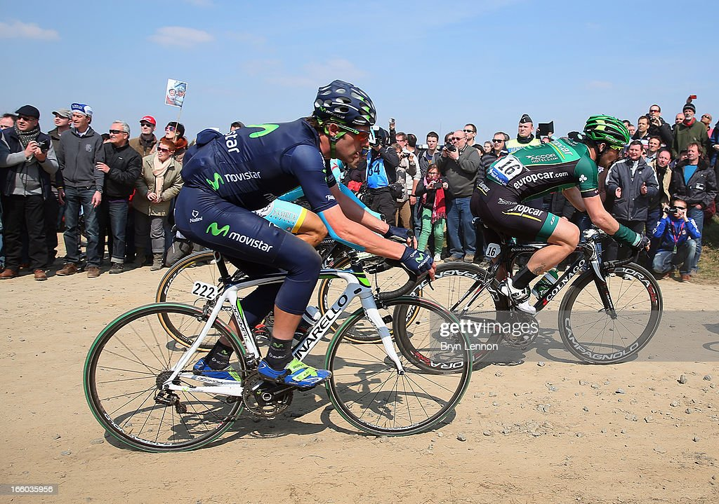 Alex Dowsett of Great Britain and the Movistar team in action during the 2013 Paris - Roubaix race from Compiegne to Roubaix on April 7, 2013 in Roubaix, France. The 111th Paris - Roubaix race is 254km long and contains 27 sections of cobblestones.