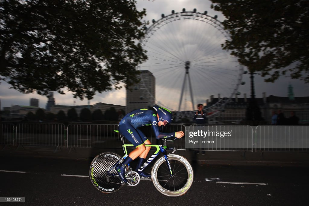 Alex Dowsett of Great Britain and the Movistar Team in action during stage 8a of the 2014 Tour of Britain, an 8.8km time trial around Whitelhall on September 14, 2014 in London, England.