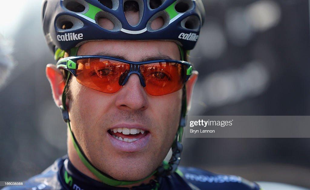 Alex Dowsett of Great Britain and the Movistar team looks on at the start of the 2013 Paris - Roubaix race from Compiegne to Roubaix on April 7, 2013 in Compiegne, France. The 111th Paris - Roubaix race is 254km long and contains 27 sections of cobblestones.