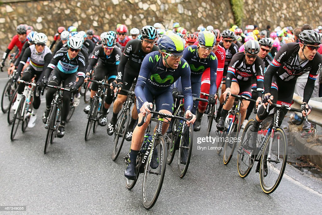 Alex Dowsett of Great Britain and the Movistar Team rides at the front of the peloton during the 2015 Milan-Sanremo race, a 293km road race from Milan to Sanremo on March 22, 2015 in San Remo, Italy.
