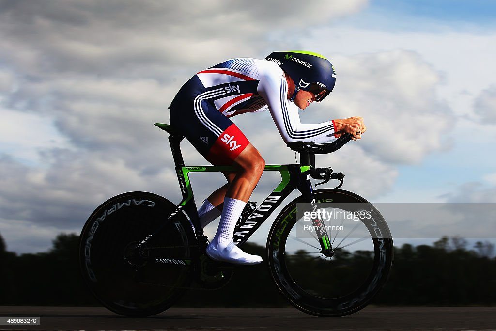 <a gi-track='captionPersonalityLinkClicked' href=/galleries/search?phrase=Alex+Dowsett&family=editorial&specificpeople=5537739 ng-click='$event.stopPropagation()'>Alex Dowsett</a> of Great Britain in action during the Elite Men Time Trial on day five of the UCI Road World Championships on September 23, 2015 in Richmond, Virginia.
