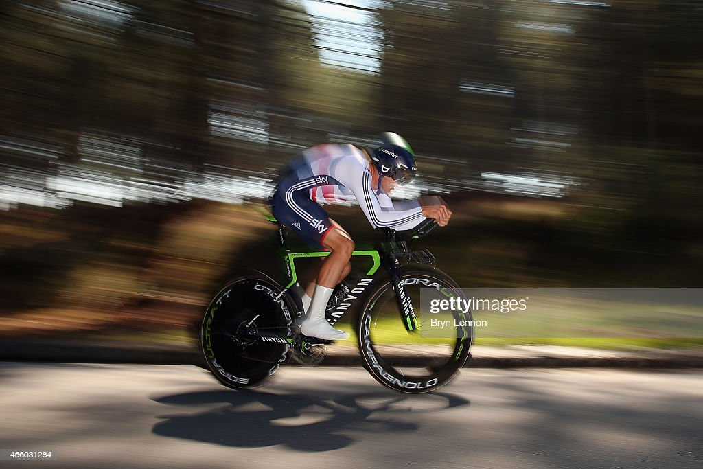 <a gi-track='captionPersonalityLinkClicked' href=/galleries/search?phrase=Alex+Dowsett&family=editorial&specificpeople=5537739 ng-click='$event.stopPropagation()'>Alex Dowsett</a> of Great Britain in action in the Elite Men's Individual Time Trial on day four of the UCI Road World Championships on September 24, 2014 in Ponferrada, Spain.