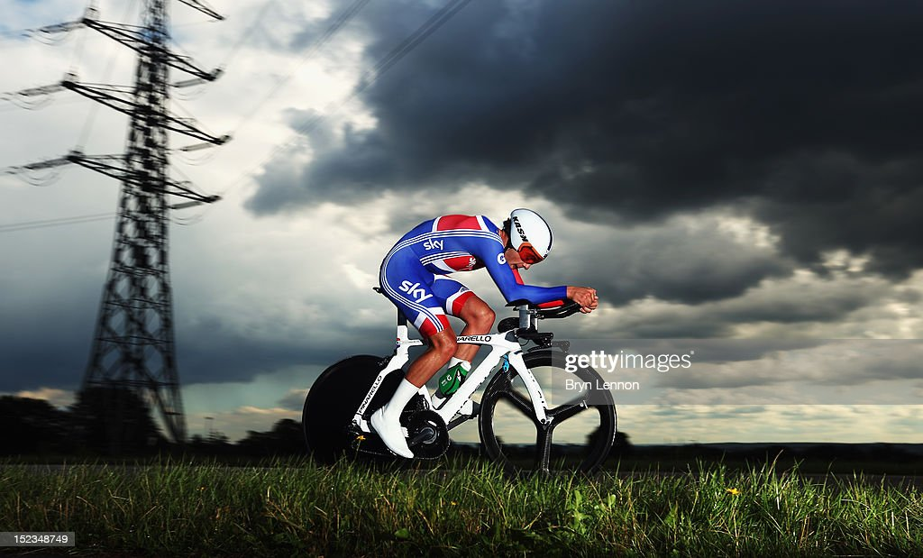 <a gi-track='captionPersonalityLinkClicked' href=/galleries/search?phrase=Alex+Dowsett&family=editorial&specificpeople=5537739 ng-click='$event.stopPropagation()'>Alex Dowsett</a> of Great Britain in action in the Elite Men's Time Trial on day four of the UCI Road World Championships on September 19, 2012 in Valkenburg, Netherlands.