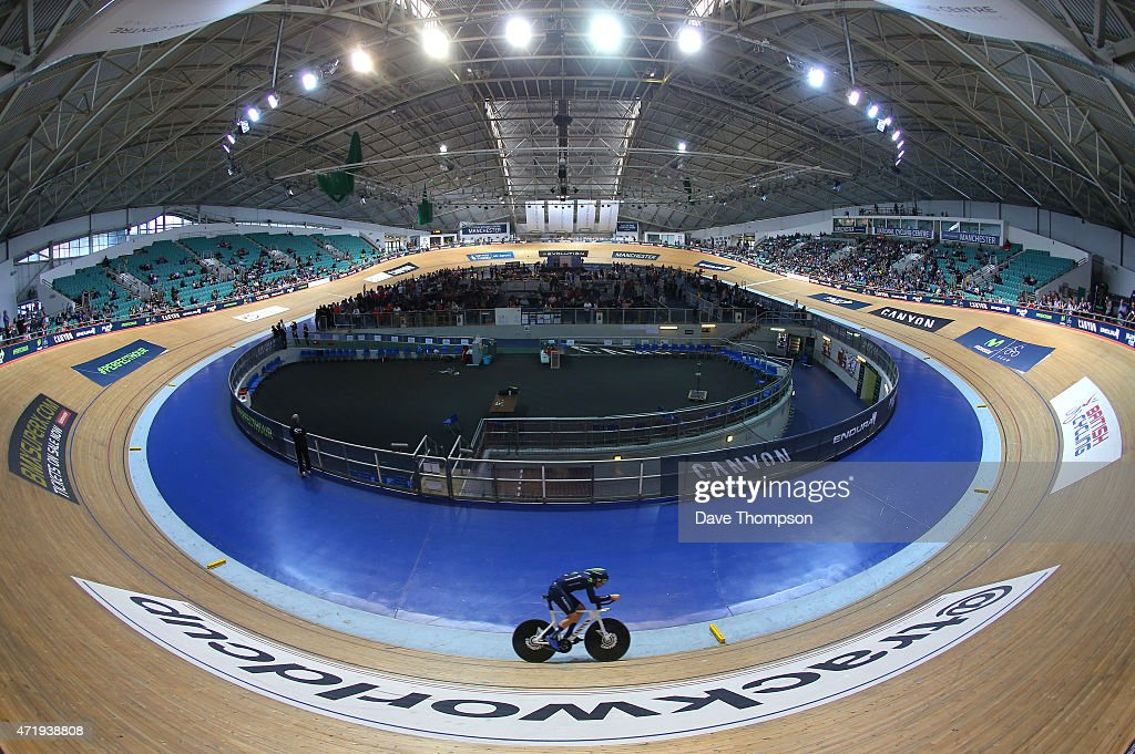 <a gi-track='captionPersonalityLinkClicked' href=/galleries/search?phrase=Alex+Dowsett&family=editorial&specificpeople=5537739 ng-click='$event.stopPropagation()'>Alex Dowsett</a> on his way to setting a new UCI Hour Record during the UCI Hour Record Attempt at the National Cycling Centre, on May 2, 2015 in Manchester, England.