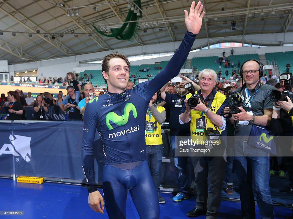<a gi-track='captionPersonalityLinkClicked' href=/galleries/search?phrase=Alex+Dowsett&family=editorial&specificpeople=5537739 ng-click='$event.stopPropagation()'>Alex Dowsett</a> waves to the crowd after setting a new UCI Hour Record during the UCI Hour Record Attempt at the National Cycling Centre, on May 2, 2015 in Manchester, England.