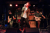Alex Duggan Adam Faulkner Dara Kiely and Daniel Fox of Girl Band perform on stage at The Cluny for BBC 6 Music Festival 2015 on February 21 2015 in...