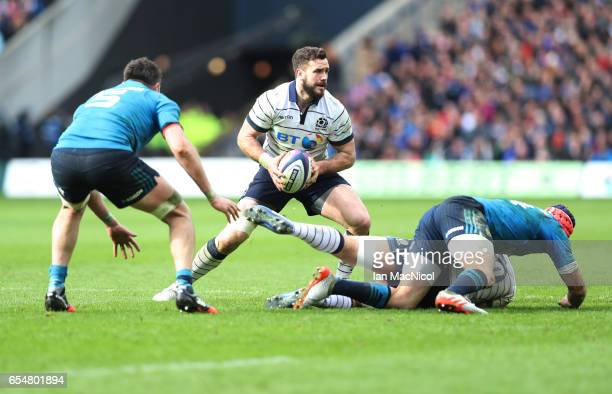 Alex Dunbar of Scotland is seen during the RBS Six Nations Championship match between Scotland and Italy at Murrayfield Stadium on March 18 2017 in...