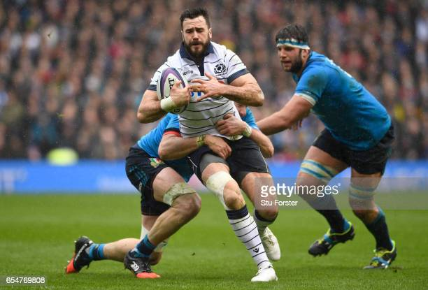 Alex Dunbar of Scotland is tackled by George Biagi of Italy during the RBS Six Nations match between Scotland and Italy at Murrayfield Stadium on...