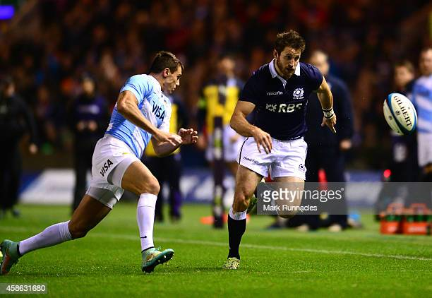 Alex Dunbar of Scotland is tackled by Juan Imhoff of Argentina during the International match between Scotland and Argentina at Murrayfield Stadium...