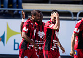 Alex Dyer of Ostersunds FK celebrates after scoring to 10 during the allsvenskan match between Ostersunds FK and Jonkopings Sodra IF at Jamtkraft...
