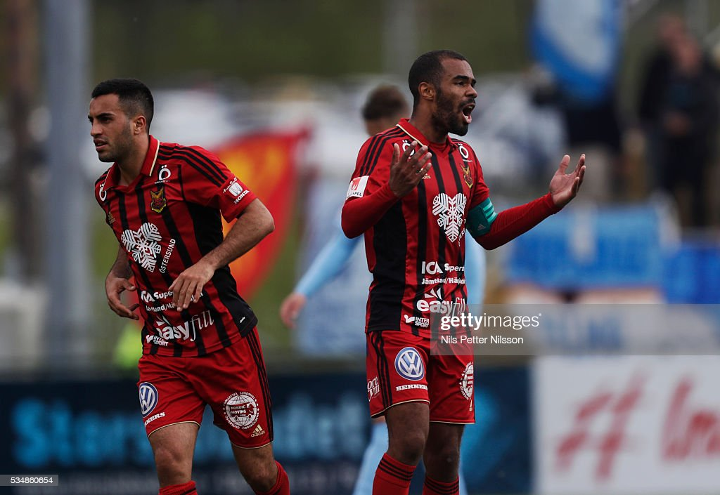 Alex Dyer of Ostersunds FK during the Allsvenskan match between Ostersunds FK and Malmo FF at Jamtkraft Arena on May 28, 2016 in Ostersund, Sweden.