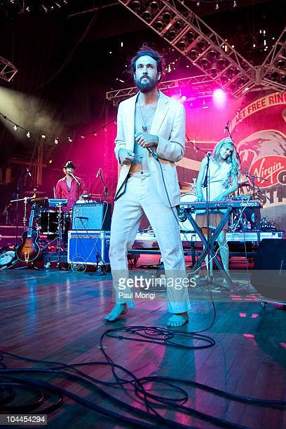 Alex Ebert of Edward Sharpe the Magnetic Zeros performs during the Virgin Mobile FreeFest at Merriweather Post Pavillion on September 25 2010 in...