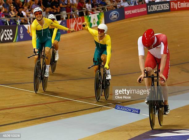 Alex Edmondson and Luke Davison of Australia celebrate winning gold in the Men's 4000 metres Team Pursuit Final at Sir Chris Hoy Velodrome during day...