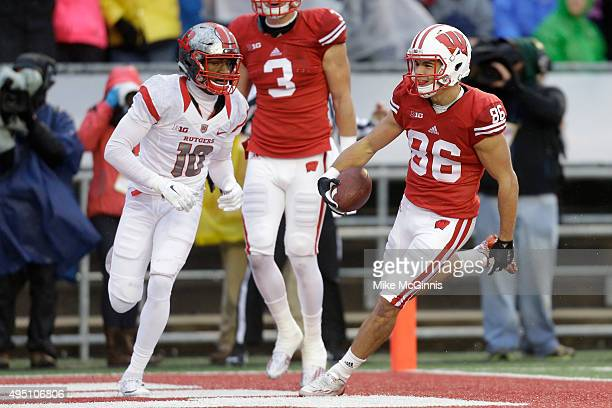 Alex Erickson of the Wisconsin Badgers runs in for a touchdown during the first half of play against the Rutgers Scarlet Knights at Camp Randall...